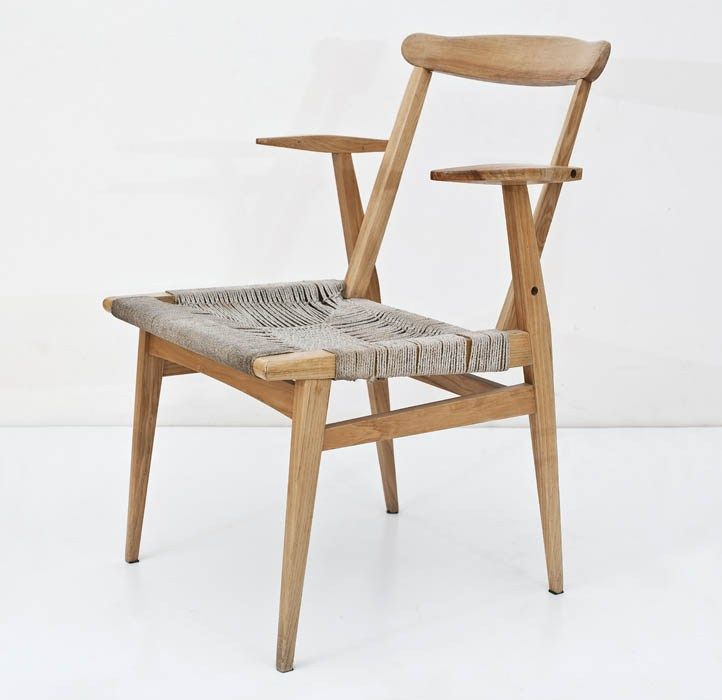 Marian Sigmund; Wood and Cord Armchair by the Trójnik–Cepelia Cooperative, 1963.