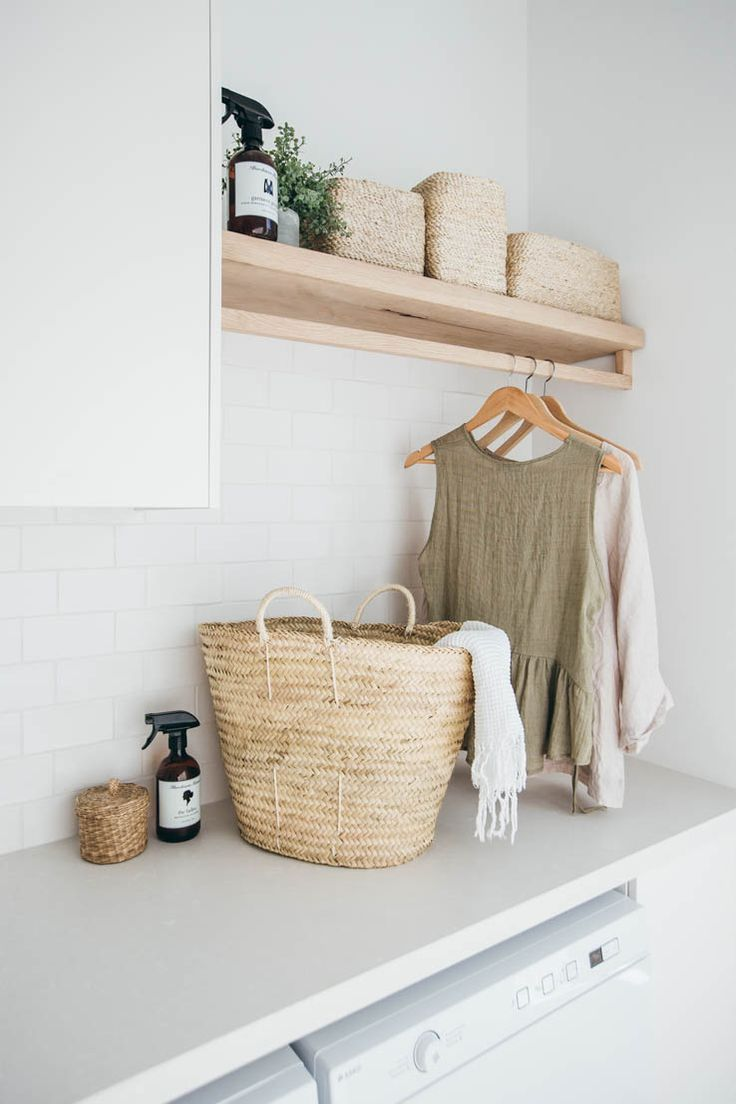 Long Jetty Renovation Laundry Reveal. I love the raw timber shelf and rail with the wicker basket and white palette