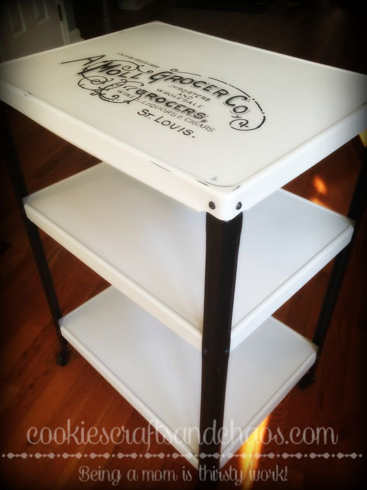 Nasty old metal cart turned into a cute bar cart or ???