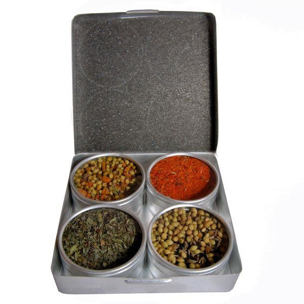 FISHERMAN'S SPICES - Épices de Cru - A collection of four delectable blends for seasoning seafood and fish recipes.  Contains: Provençal Herbs for Fish / Cajun Blackened Fish Blend / Bengalese Fish Masala / Turkish Spices for Fish