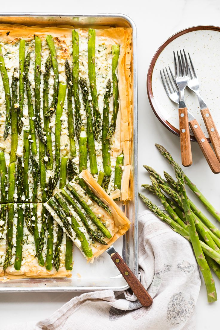 The asparagus roasts gently into vibrant green, perfectly tender spears as the tart bakes in the oven. Make this asparagus phyllo tart in under 1 hour!