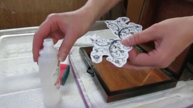 Вживление лазерной распечатки на жидкость для снятия лака
