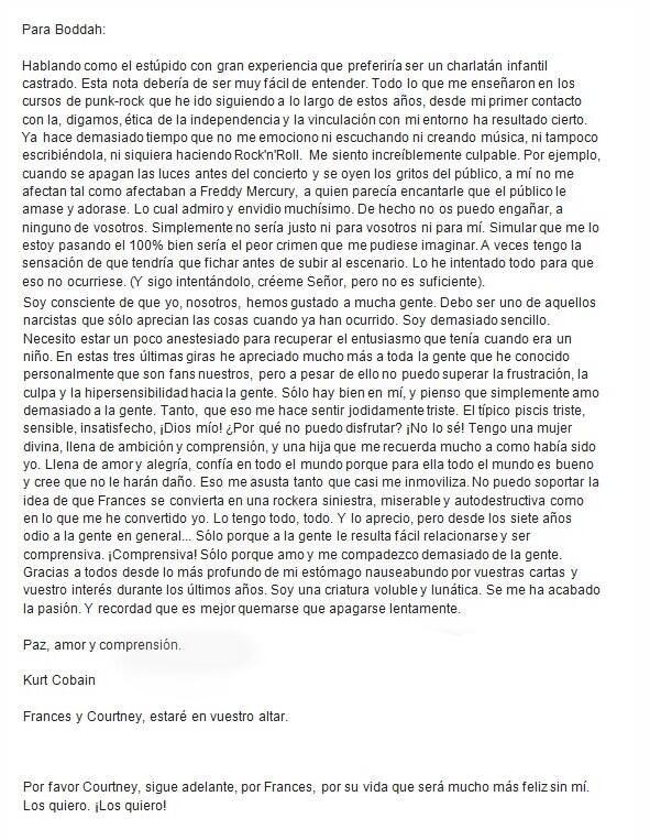 """La traducción de la carta de suicidio de Kurt Cobain. Vale la pena leerlo. """"mira este post y ya puedes morir en paz"""""""