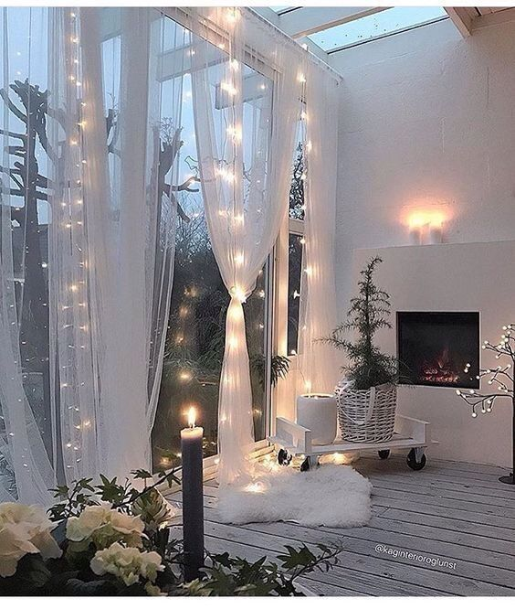 Curtains and lights decor for when garden doors are open