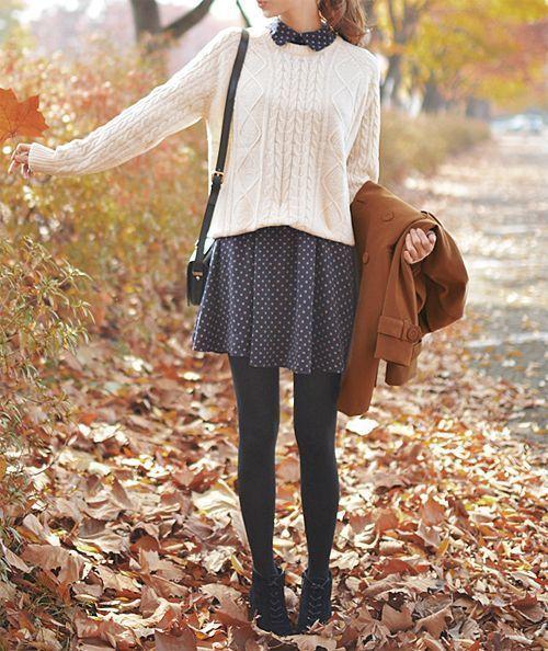 Marine blue dress with white dots. Whiter overlaid sweater. Autumn feeling.