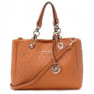 Michael Kors Jet Set Chain Logo Monogram Jacquard with Luggage Leather $79.00 http://www.newperfectstyle.com/