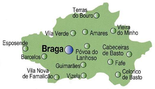 Mapa do Distrito de Braga, Portugal