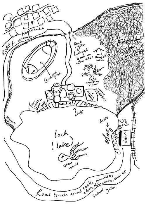 J.K. Rowling's map drawing of Hogwarts. It all finally makes sense.