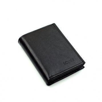 Elegancki czarny skórzany męski portfel SW01B