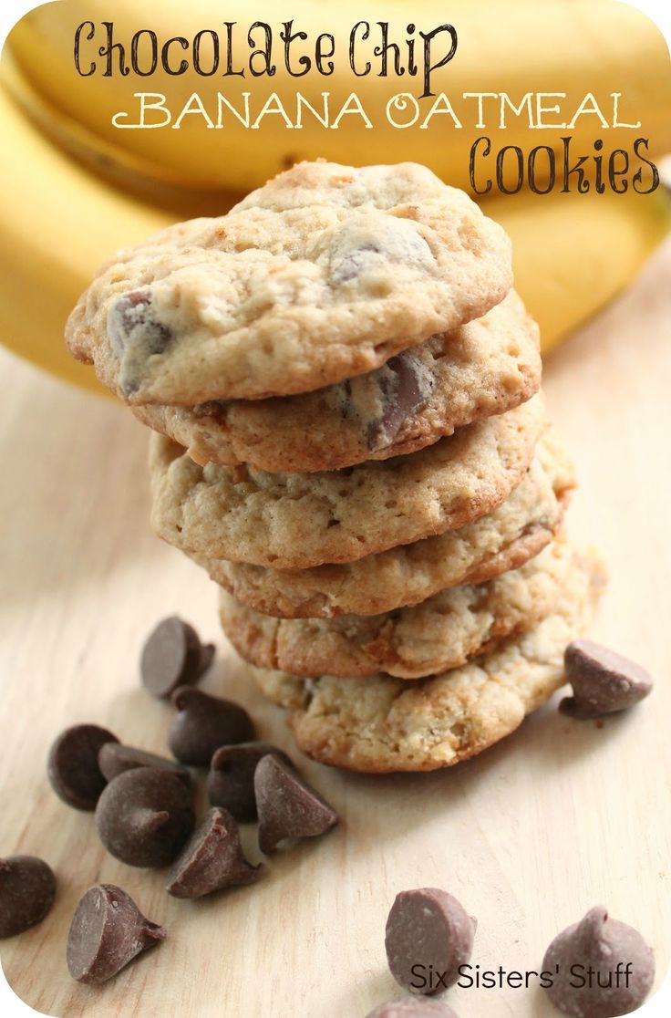 Chocolate Chip Banana Oatmeal Cookies: Chips Bananas, Chocolate Chips, Chocolates Chips, Oatmeal Cookies Recipe, Banana Oatmeal Cookies, Bananas Oatmeal Cookies, Sixsistersstuff, Six Sisters Stuff, Cookies Banana