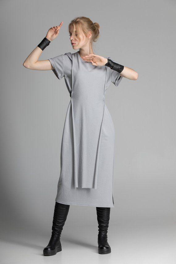 fc52824fe8826 Grey apron midi dress, women Jedi tunic, wrap slit Japanese dress ...