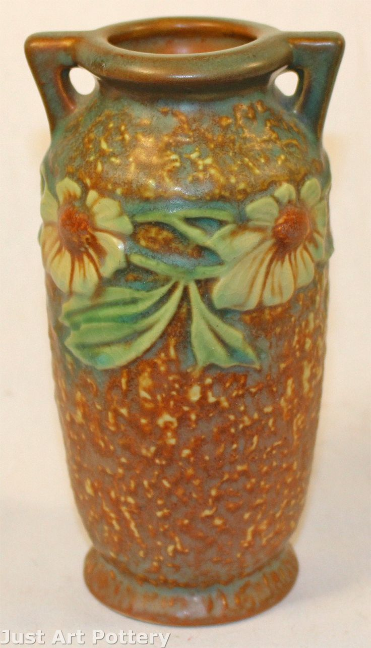 1217 best glass china and pottery images on pinterest painted roseville pottery dahlrose handled vase from just art pottery reviewsmspy