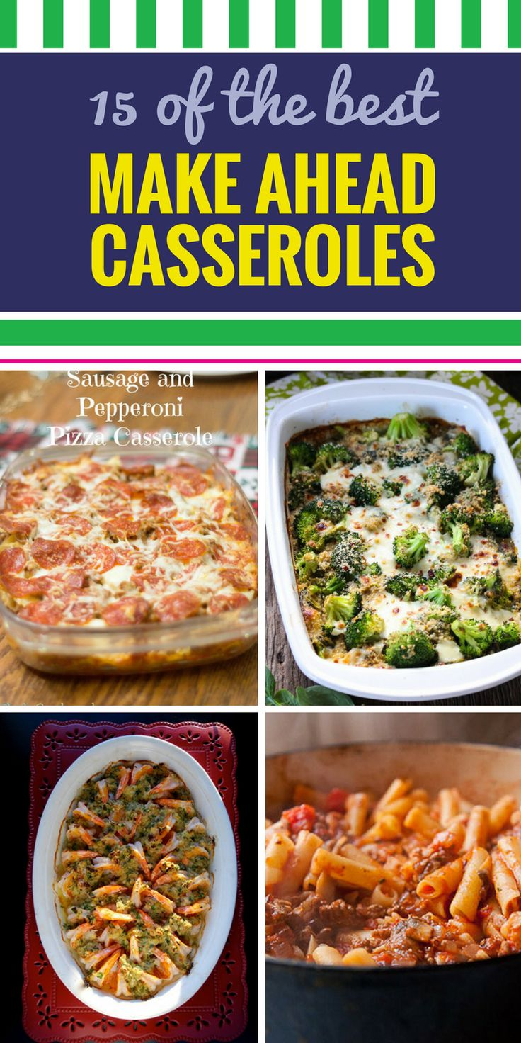 15 Casserole Recipes Make Ahead. Looking for a healthy meal option for your family? From soup to chicken, you'll never dread dinner with these amazing simple casserole recipes. .