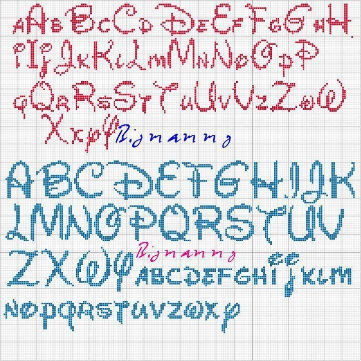 grille gratuite point de croix | Alphabet point de croix, Alphabet disney, Lettres disney