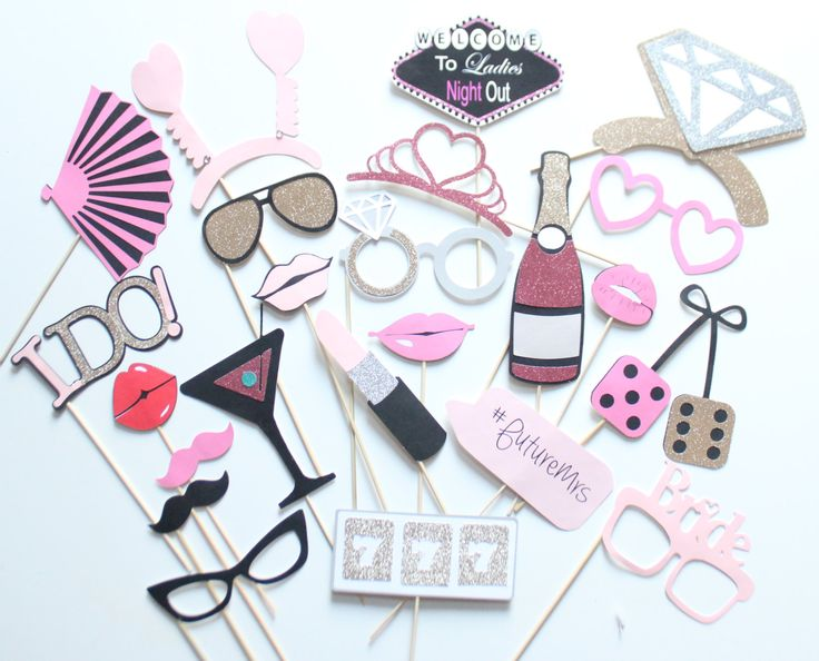 Ready To Ship!! ** 23 pc * Ladies Night Out/Bachelorette Party/ Las Vegas Photo Booth Props by ThePartyGirlStudio on Etsy