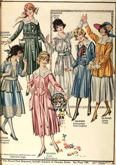 Dresses for older girls in a lovely selection of spring colors. From the Spring 1918 Sears catalog.