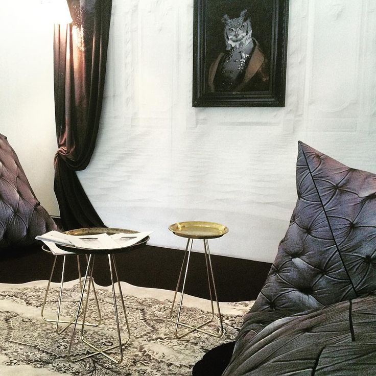 Second day @decorex_international our new grey chesterfield extra large bean bags #decorex2016 #ldf #london #decorexpressroom #chesterfield #beanbags #chesterfieldbeanbag