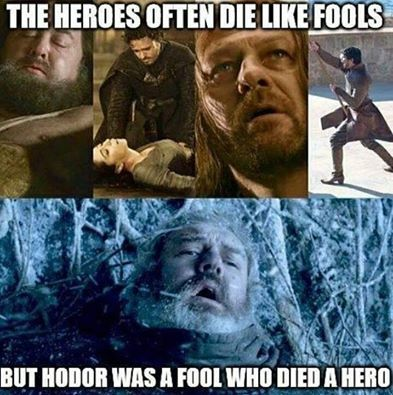 "If you are not up to date on Game of thrones ""SPOILER"". I was really sad when he died"