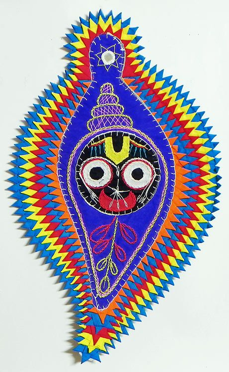 Face of Jagannath on Conch in Blue Appliqued Cotton Cloth - (Wall Hanging) (Applique Work on  Cotton Cloth))