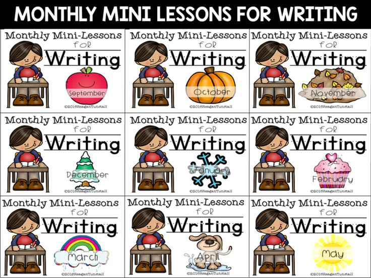 "Monthly writing mini-lessons for kinder, first grade, and second grade. Writer's workshop lessons with materials for the entire year.  Have your students writing without tears!   Novelty writing, free writing, with standards alignment.  Writing webs, writing rubrics, writing pages, and writing ideas included.  To learn more about ""Writing Mini-Lessons"", visit www.tunstallsteachingtidbits.com"