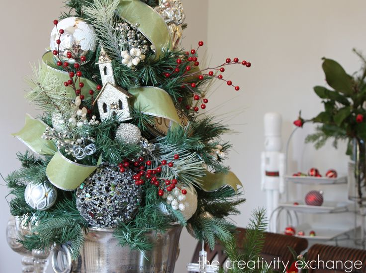 Christmas tree in champagne bucket- 12 Days of Christmas Home Tour {The Creativity Exchange}