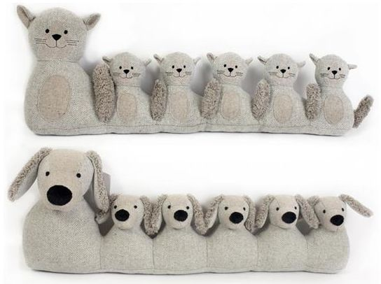 ANIMAL DESIGN GREY FABRIC DRAUGHT DRAFT EXCLUDERS DOOR CUSHION