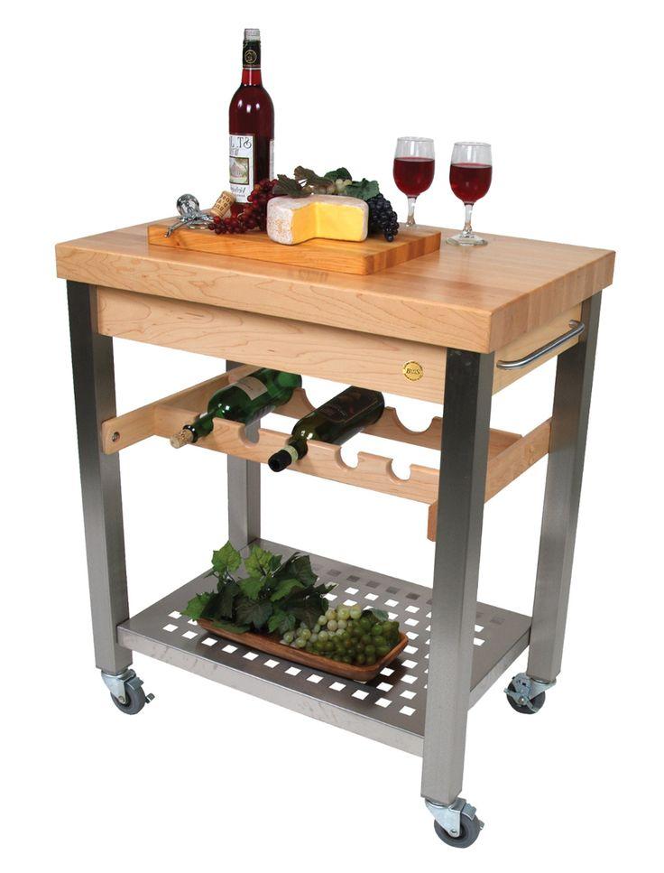 John Boos Cucina D Vino Wine Cart Hard Maple Top Steel Base