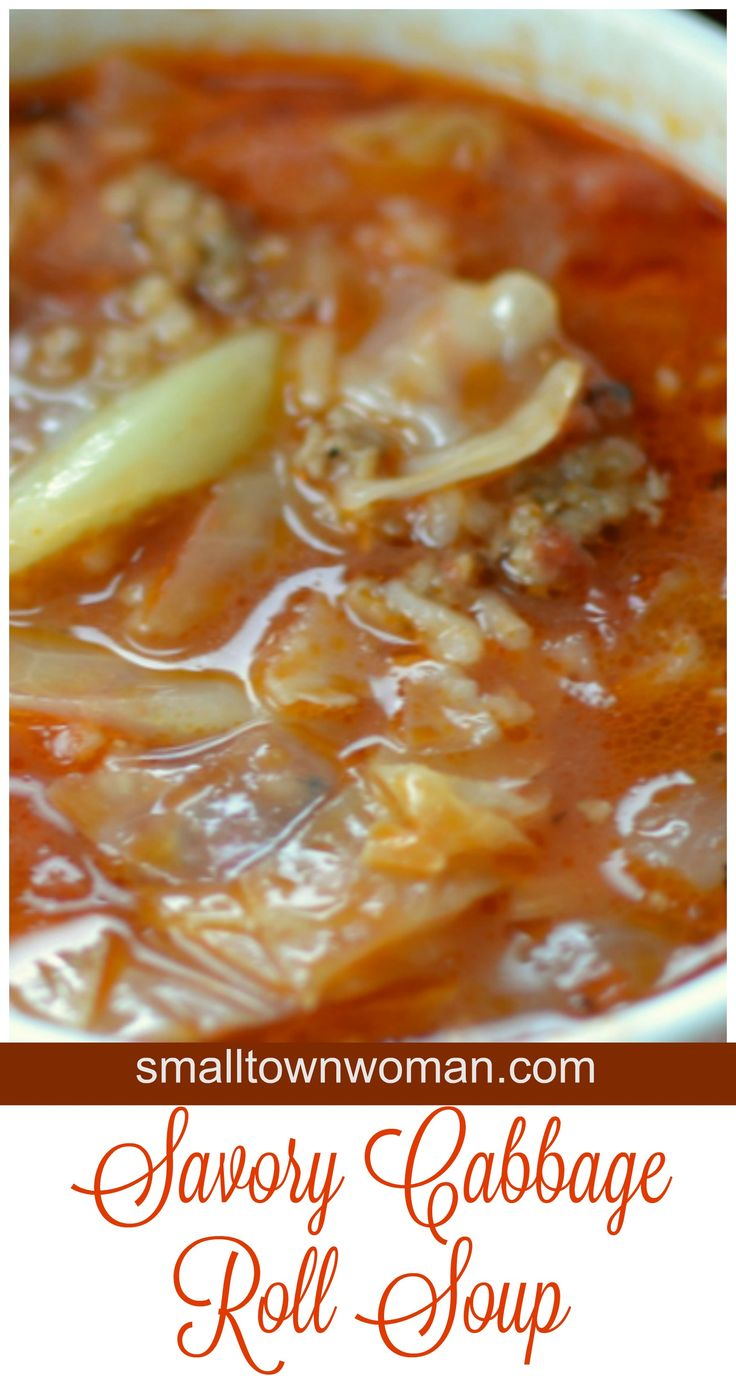 I love everything about cabbage rolls but I don't always have the time to make them.  This Savory Cabbage Roll soup eliminates all of that but still gives you all the flavor of cabbage rolls.