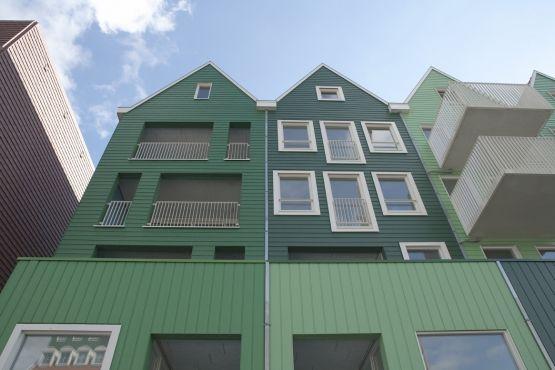 Roval | Specialist in aluminium bouwproducten voor dak & gevel. Aluminium muurafdekkers toegepast als duurzame afwerking van hout. In groen gemoffeld.