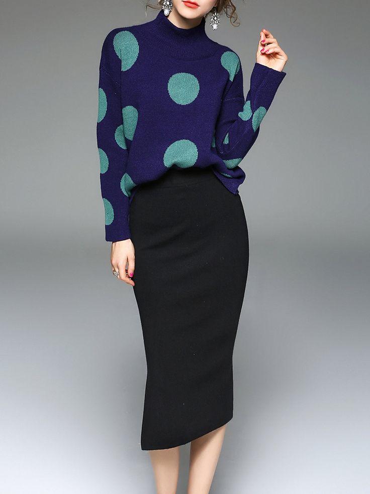 #AdoreWe #StyleWe Dresses - JIANSHAN Navy Blue Two Piece Long Sleeve Polka Dots Midi Dress - AdoreWe.net