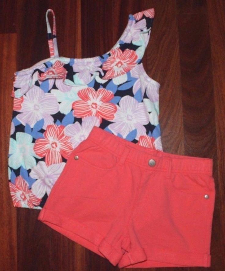 NWT NEW Gymboree Tropical Breeze Floral Tank Top, Coral Shorts Outfit Set Size 7 #Gymboree #Everyday
