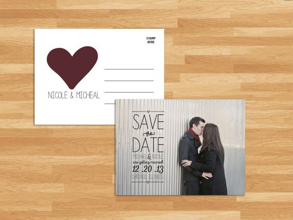 Save The Date Wedding Photo Postcard Template