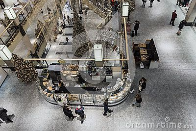 Interior of a massive shopping maill at Christmas time in Krakow. Poland. Gallery Krakowska.