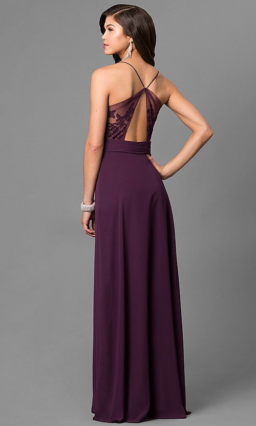 2a3b71d0432 Image of long eggplant purple prom dress with lace back. Style  BJ-1724  Back Image