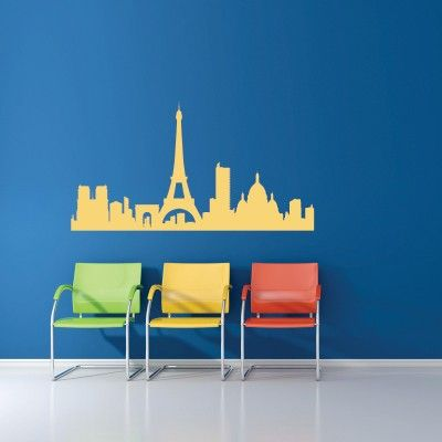 """Adesivo Murale - Skyline Parigi con il simbolo della Francia, la Torre Eiffel.  Adesivo murale di alta qualità con pellicola opaca di facile installazione. Lo sticker si può applicare su qualsiasi superficie liscia: muro, vetro, legno e plastica.  L'adesivo murale """"Skyline Parigi"""" è ideale per decorare il vostro soggiorno. Adesivi Murali."""