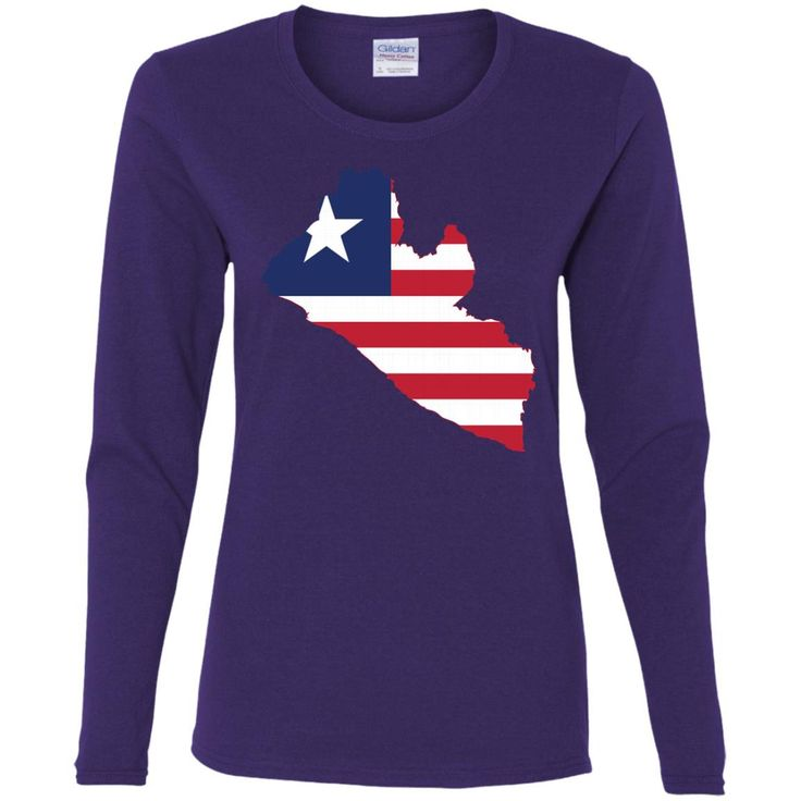 Liberia flag-01 G540L Gildan Ladies' Cotton LS T-Shirt