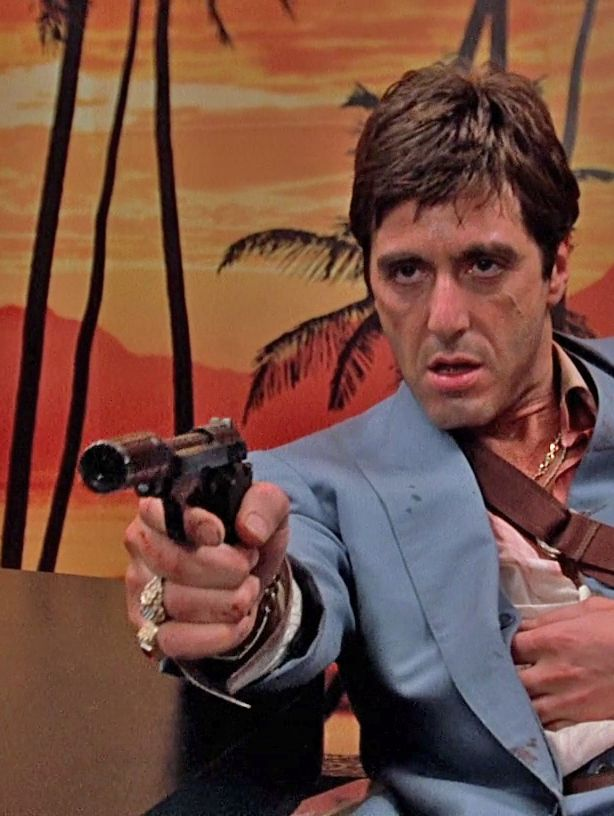 Al Pacino as Tony Montana in SCARFACE. 2nd only to THE GODFATHER.