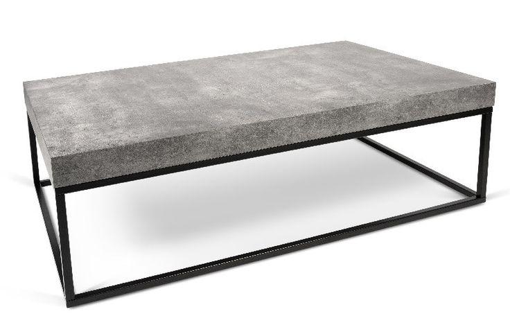 Petra+Sofabord+-+Grå+-+Flot+rektangulær+sofabord+i+et+minimalistisk+design.+Sofabordet+er+et+moderne+og+stilrent+møbel+som+vil+passe+ind+i+ethvert+rum.+Sofabordet+har+en+topplade+i+råt+beton-look,+som+er+udarbejdet+i+melamin+med+robuste+sorte+metalben.+Anvend+bordet+som+sofabord+i+den+moderne+stue+og+kombiner+gerne+med+andre+stilarter+og+farver+eller+f.eks.+med+et+matchende+sidebord+fra+samme+serie.