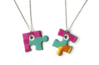 DIY Puzzle Piece Friendship Necklace - send to girls over the summer, then have them piece together when we meet in the fall.