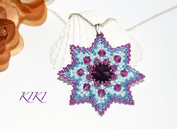 Beaded flower star pendant with amethyst bezeled swarovski rivoli crystal and swarovski bicones unique beadwork made with peyote technique