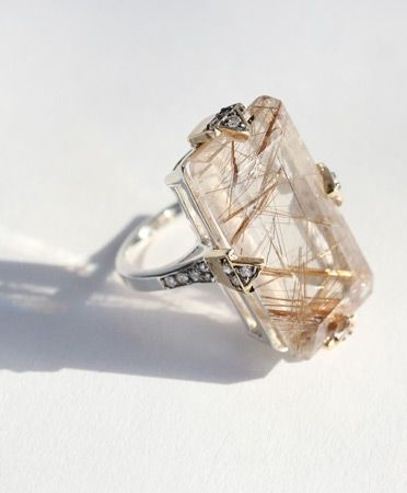 MANIAMANIA Fine: Phenomena Cocktail Ring.   ••••(KO) Rutile Quartz. Absolutely beautiful! $1,700. The gold colored lines are rutiles. AKA RUTILATED QUARTZ. Can be purchased on QVC in various styles and sizes if in stock.