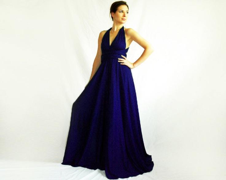 Infinity dress Evening Convertible Wrap Chameleon Maxi Dress Navy Blue. $74.00, via Etsy.