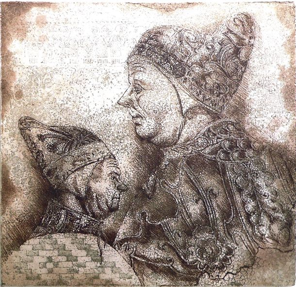 Two Doges etching Artist Sandi Rigby