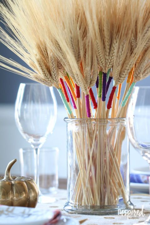 Create a colorful tableau with these embroidery floss-wrapped stalks of wheat. G…