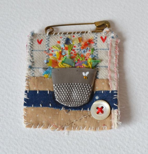 BROOCH A fiber Brooch or Pin.  Hand embroidered. by hensteeth, £20.00