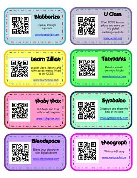Popular classroom websites with QR codes. Easy to print and put on a binder ring for student access!