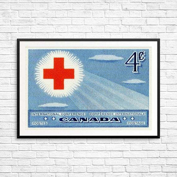 Red Cross, Red Cross International Conference, Cross art, Canada Post, Canadian Postage, Canadian Stamp, Canadian Art, Antique Canadian Art
