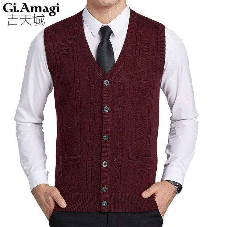 Casacos Autumn Winter Middle-aged Wool Vest Male Cardigan V-neck Knitting Vest Sleeveless Sweater Waistcoat Business Casual Male