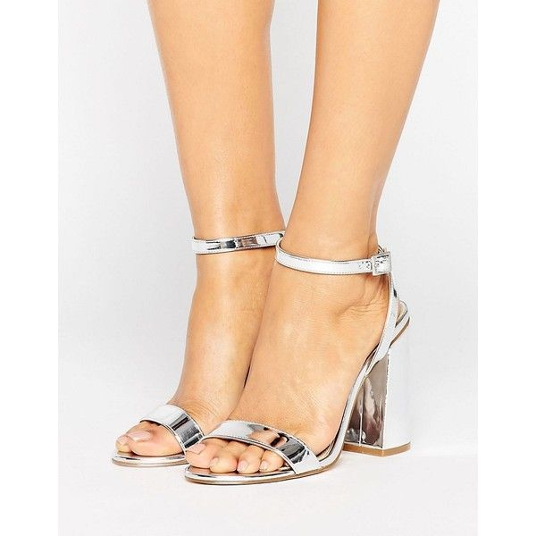 ASOS HAMPSTEAD High Heels ($53) ❤ liked on Polyvore featuring shoes, sandals, silver, strappy high heel sandals, silver high heel sandals, metallic sandals, ankle strap high heel sandals and silver strappy sandals