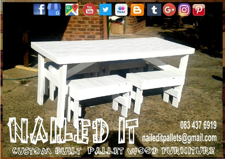 Custom built pallet wood 4/6 seater patio table with benches. Perfect for the outdoors & patio #naileditcustombuiltpalletfurniture #palletwoodfurnituredurban #palletfurniture #palletfurnituredurban #palletfurnitures #custompalletfurnituredurban #custompalletfurniture #palletbench #outdoorfurniture #outdoorpalletfurniture #palletpatiofurniture